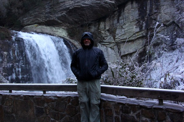 Ron standing on the walk in front of Looking Glass Falls